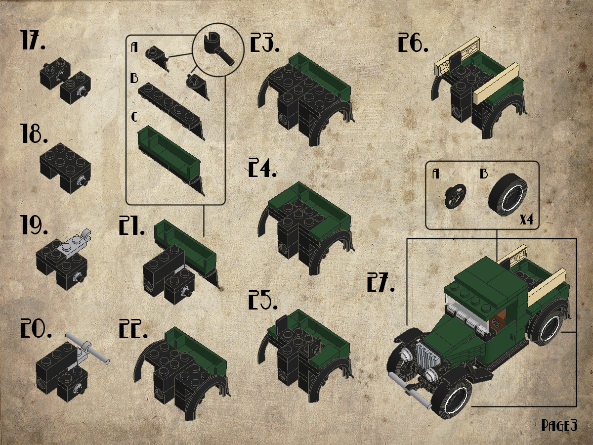 Ford Model A Parts List : Instruction tutorial ford a pickup lego brickmafia